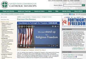 A screen-grab from the 'Fortnight for Freedom' website